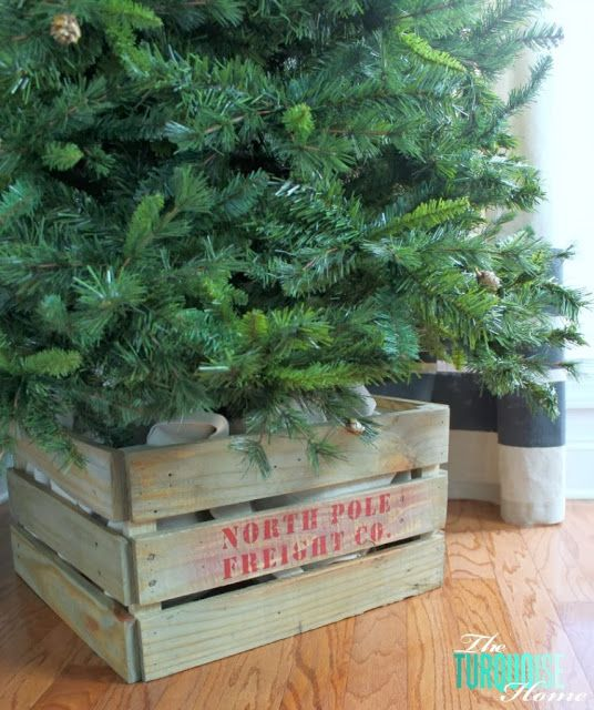 Stenciled Christmas Tree Crate Christmas Tree Base Wood Christmas Tree Christmas Tree Stand