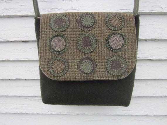 Wool penny rug bag crossbody bag messenger by granniesraggedybags