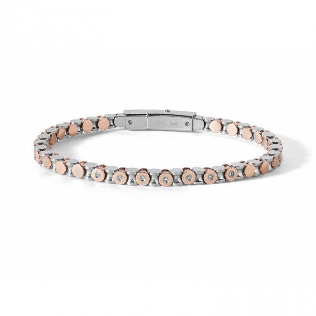 Bracciale in acciaio e pvd rosé  con diamanti progettato su modulo a clessidra. Lavorazione artigianale.  #CometeGioielli  UBR 674