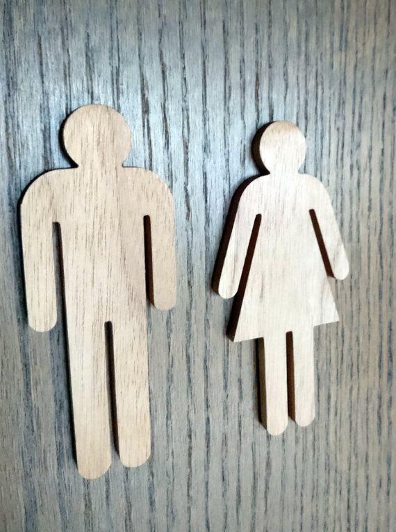 Light Walnut Wc Sign For Men And Woman Restroom Bathroom Etsy Bathroom Signs Wooden Signs Restaurant Decor