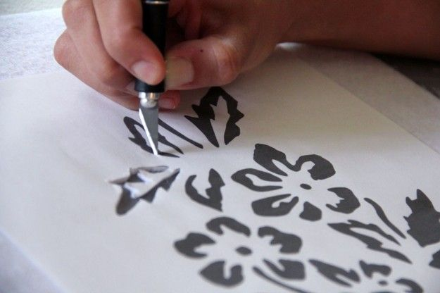DIY STENCILING as Alabama Chanin does it. Lots of options for stencil materials, and painting.