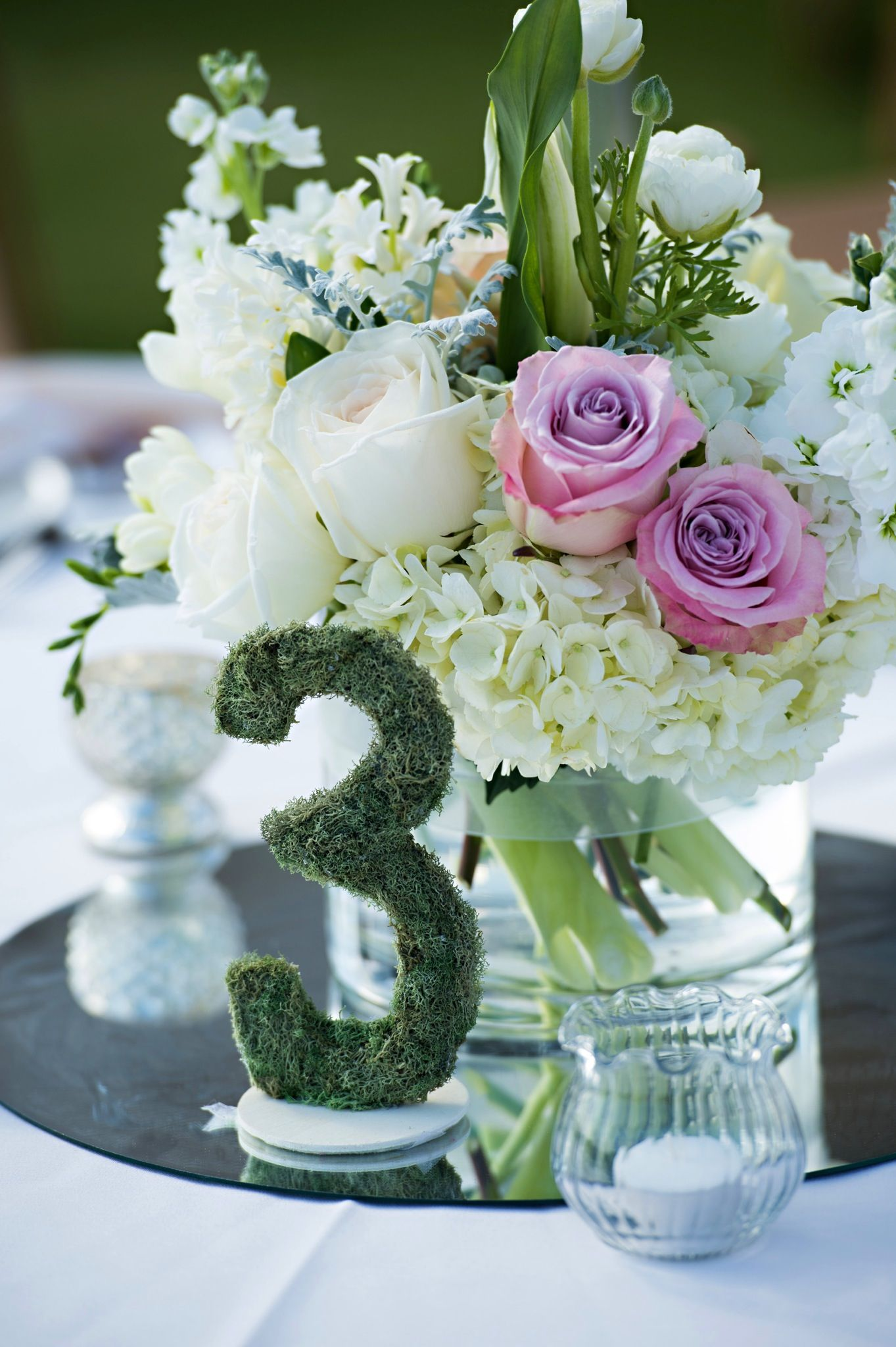 Beautiful moss numbers for assigned seating on Etsy at 2chicandshabbychicks...