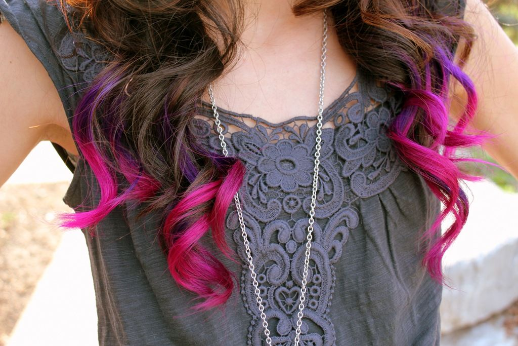 Pink And Purple Hair Styles: Brown Hair With Pink And Purple Ends-----I Would Love To