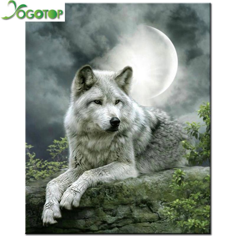 Rhinestone Malowanie Krysztal Home Decor Diy Diament Malarstwo Ksiezyc Wilk 3d Sciegu Wzor Haftu Diament Gt582 Fantasy Wolf Snow Wolf Wolf Art