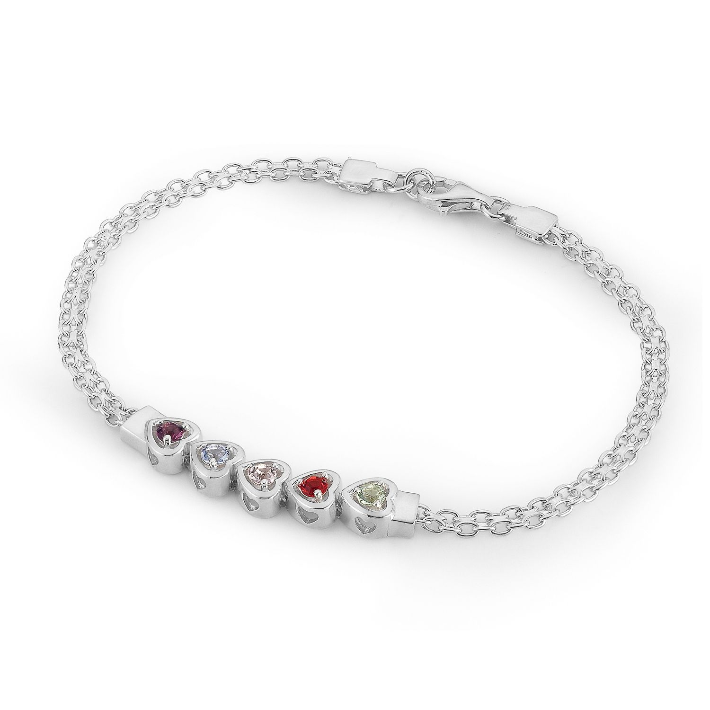 Sterling Silver Running Hearts Birthstone Bracelets
