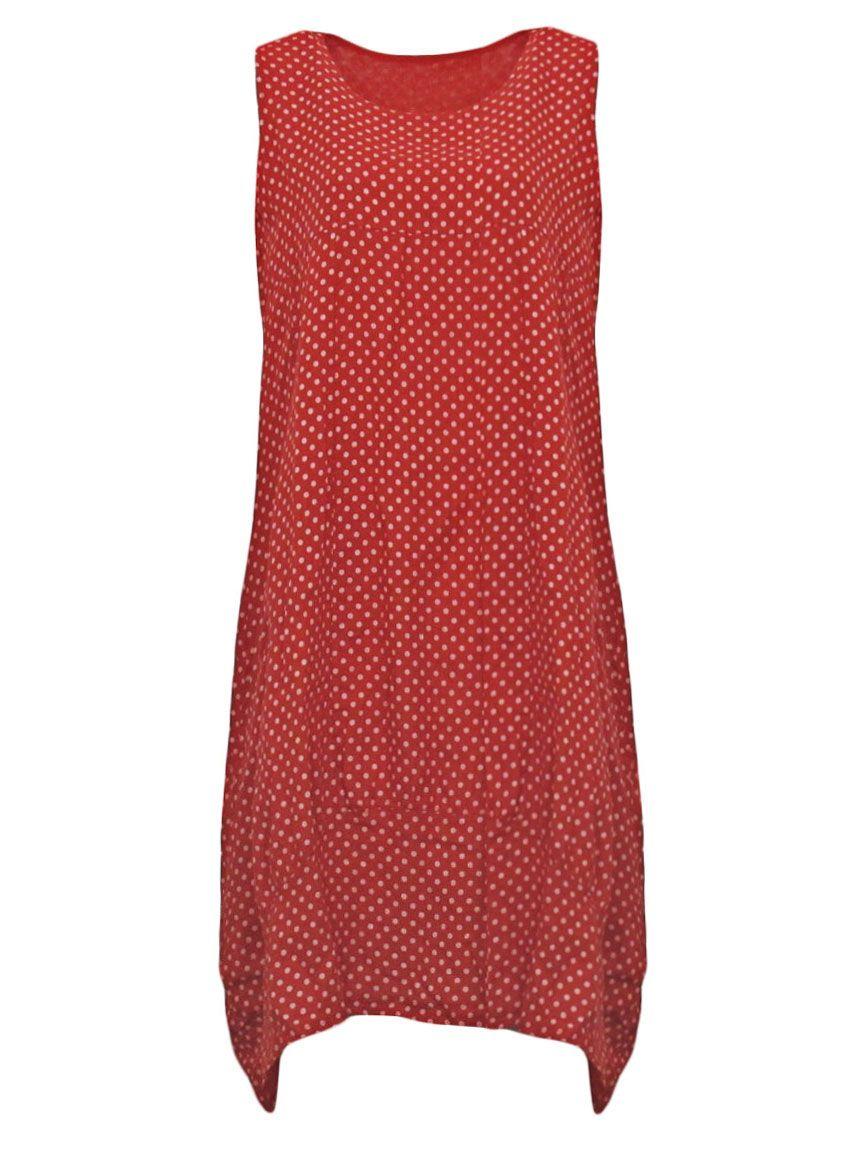 leinenkleid mit punkten, rot   leinenkleid, kleider, modestil
