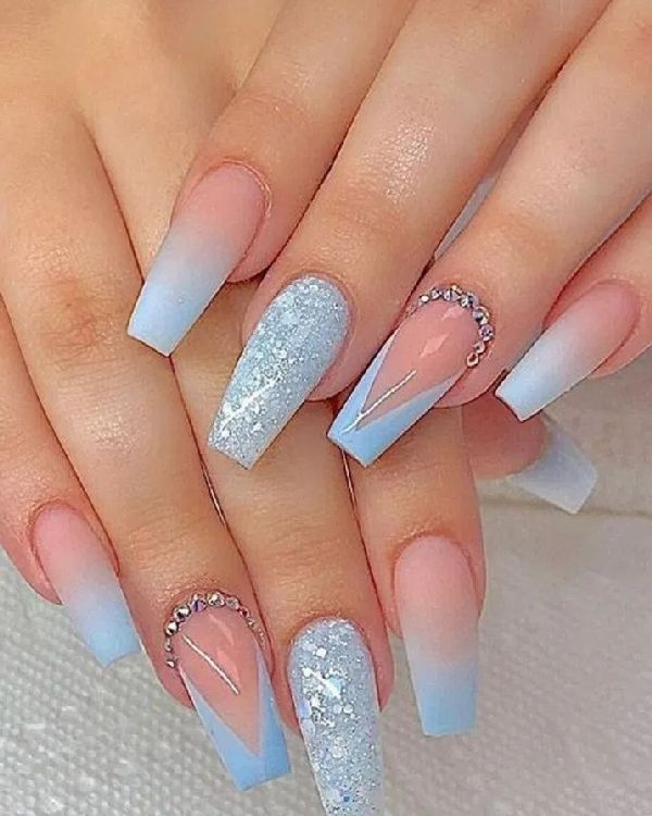 33 kinds of acrylic coffin nail designs can enhance your confidence part 2 - DoraWang Blog in 2020 | Blue acrylic nails, Coffin nails long, Coffin nails designs