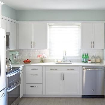 Lowes Arcadia Cabinets With Soothing Blue Walls  Kitchen Ideas Extraordinary Lowes Kitchen Cabinets White Inspiration