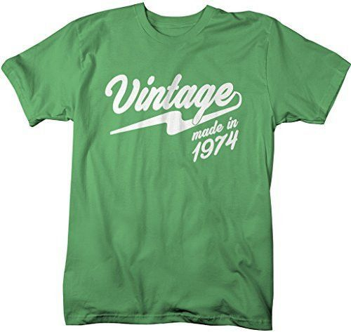 Shirts By Sarah Men's Vintage Made In 1974 T-Shirt Retro Birthday Shirts