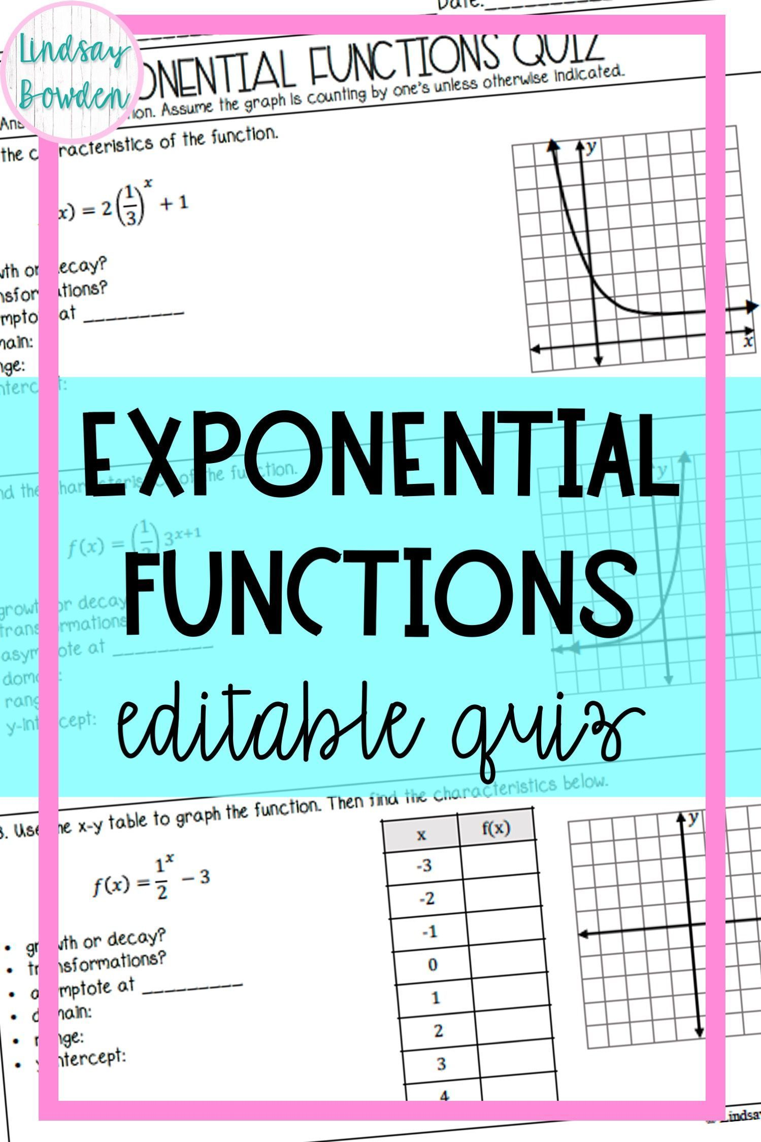 Exponential Functions Quiz Middle School Math Resources Free Math Lessons Exponential