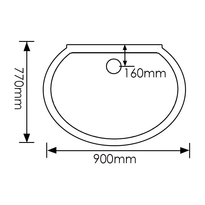 900x770mm Milano D Shaped Shower Enclosure Glass | Bathroom ...
