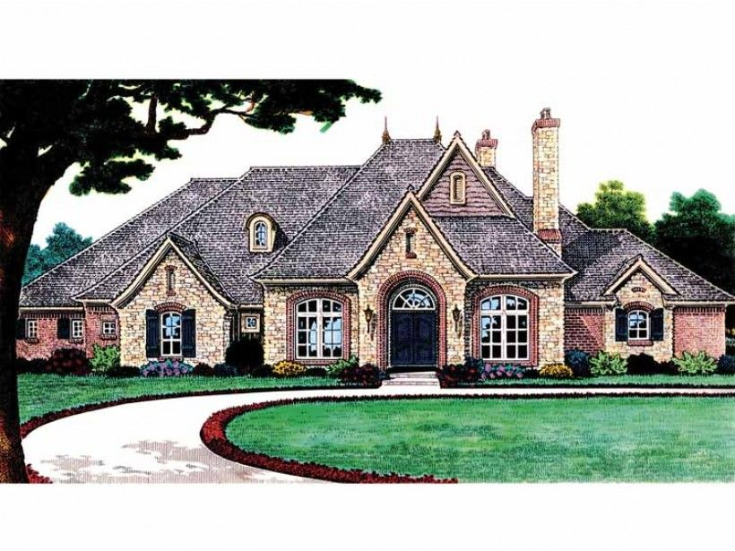 French Country House Plan with 3510 Square Feet and 4 Bedrooms from
