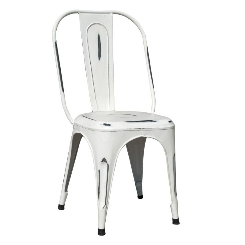 Superior Carnegie Industrial Metal Dining Chair   Distressed White