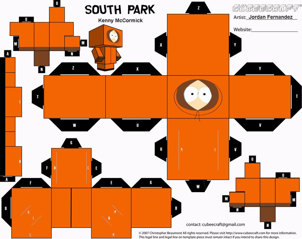 South Park Kenny Cubee Template By Jordof131 On DeviantART