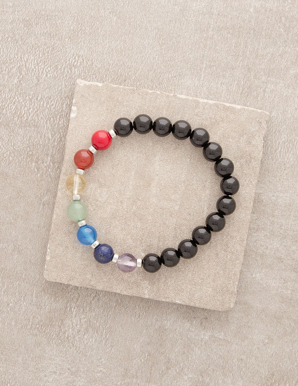 Black Agate Seven Chakra Bracelet