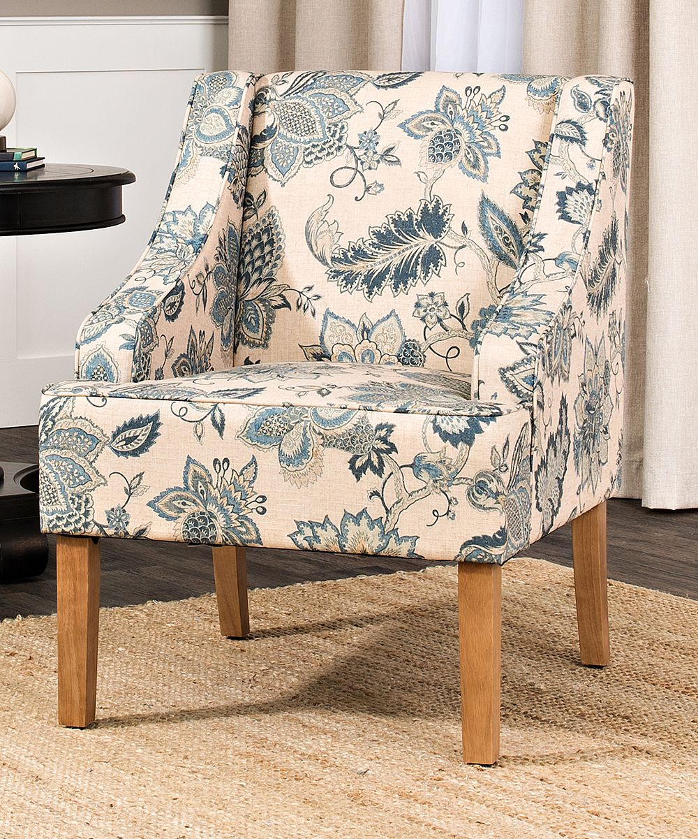 Homepop Natural Blue Lexie Swoop Arm Accent Chair Zulily