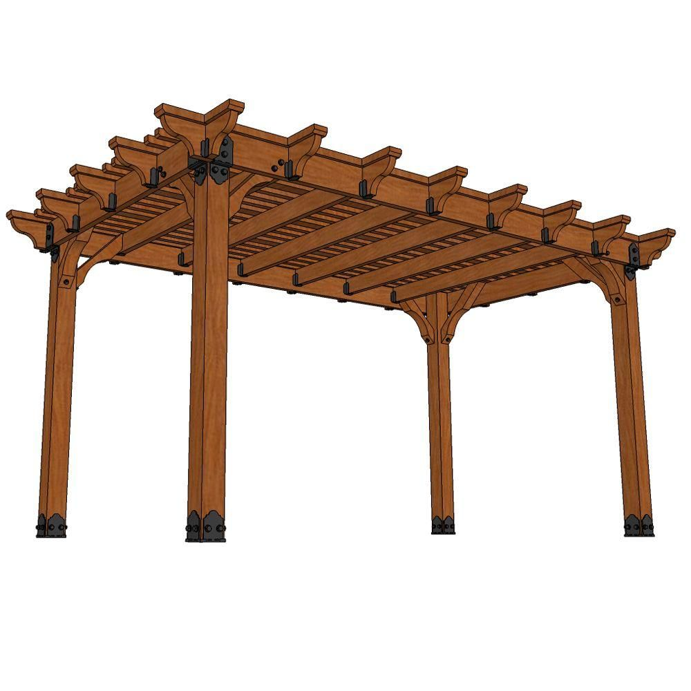 Design Craft Millworks Vineyard 10 Ft X 16 Ft Diy Western Red Cedar Pergola 61016 The Home Depot Wood Pergola Cedar Pergola Wood Pergola Kits