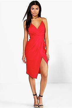 fcdf5dffe9a98 Strappy Wrap Detail Midi Dress | Fashion Inspo | Dresses, Tux dress ...