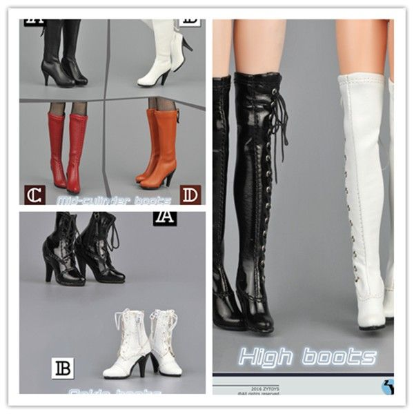 """1//6 Scale Shoes Long Boots High Heels for 12/"""" Action Figures Clothes Accessories"""