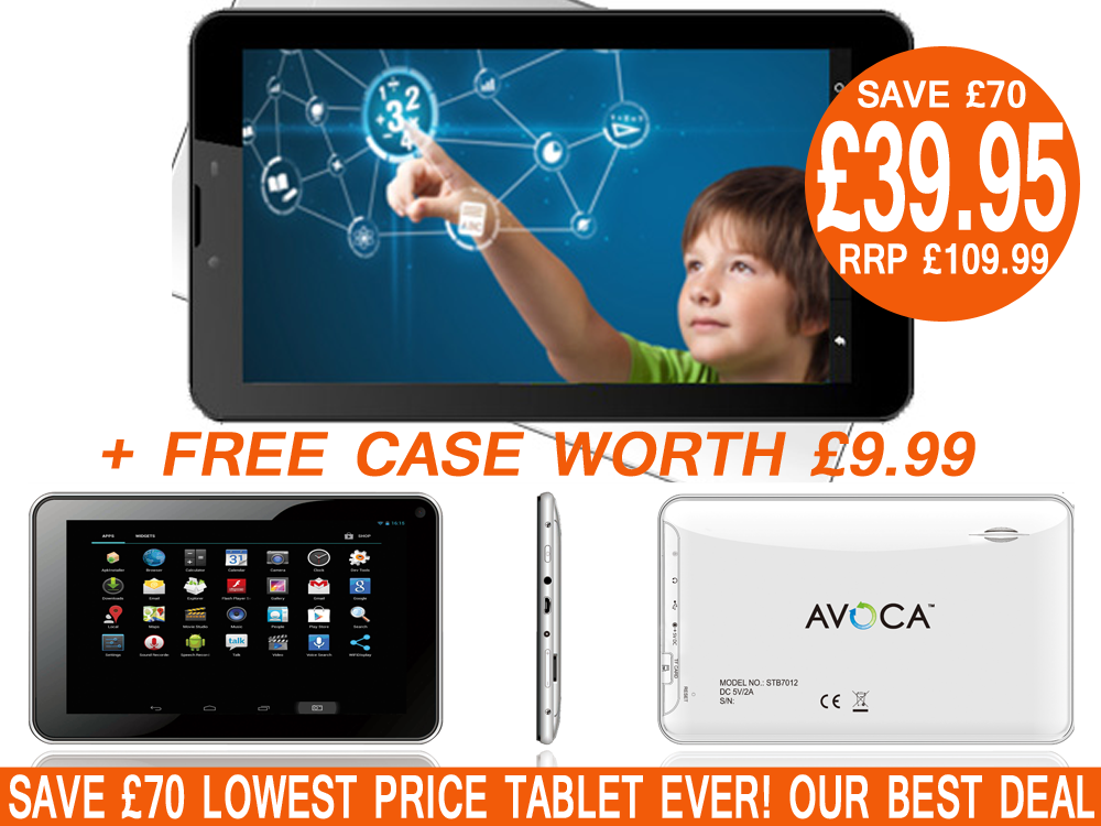 AVOCA 7 STB7013 Dual Core Android Tablet + Free Case