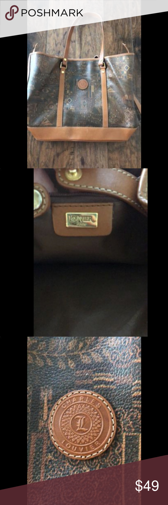 Charles Louvier Bag Pyramid Eye Tan Brown Good Used Condition Thank You For Passing By Check My Other Items And Feel Free To Make An Offer B