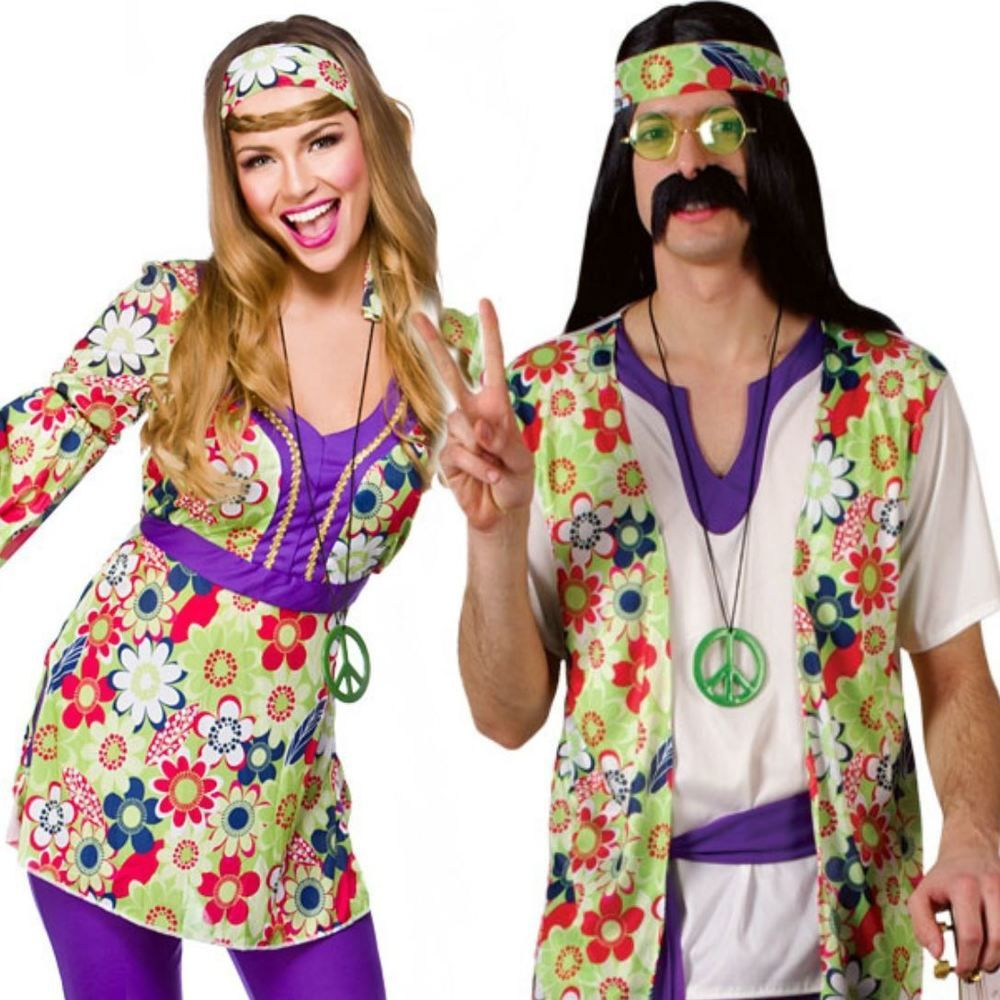 5b159f89f51b Adult Mens Ladies Couple 60s 70s Groovy Hippy Flower Power Fancy Dress  Costume in Clothes