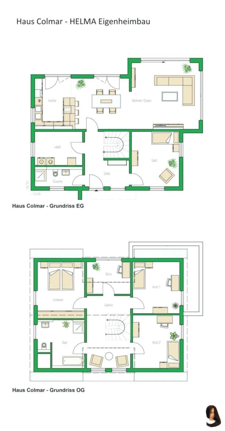 Grundriss Einfamilienhaus modern mit Satteldacharchitektur