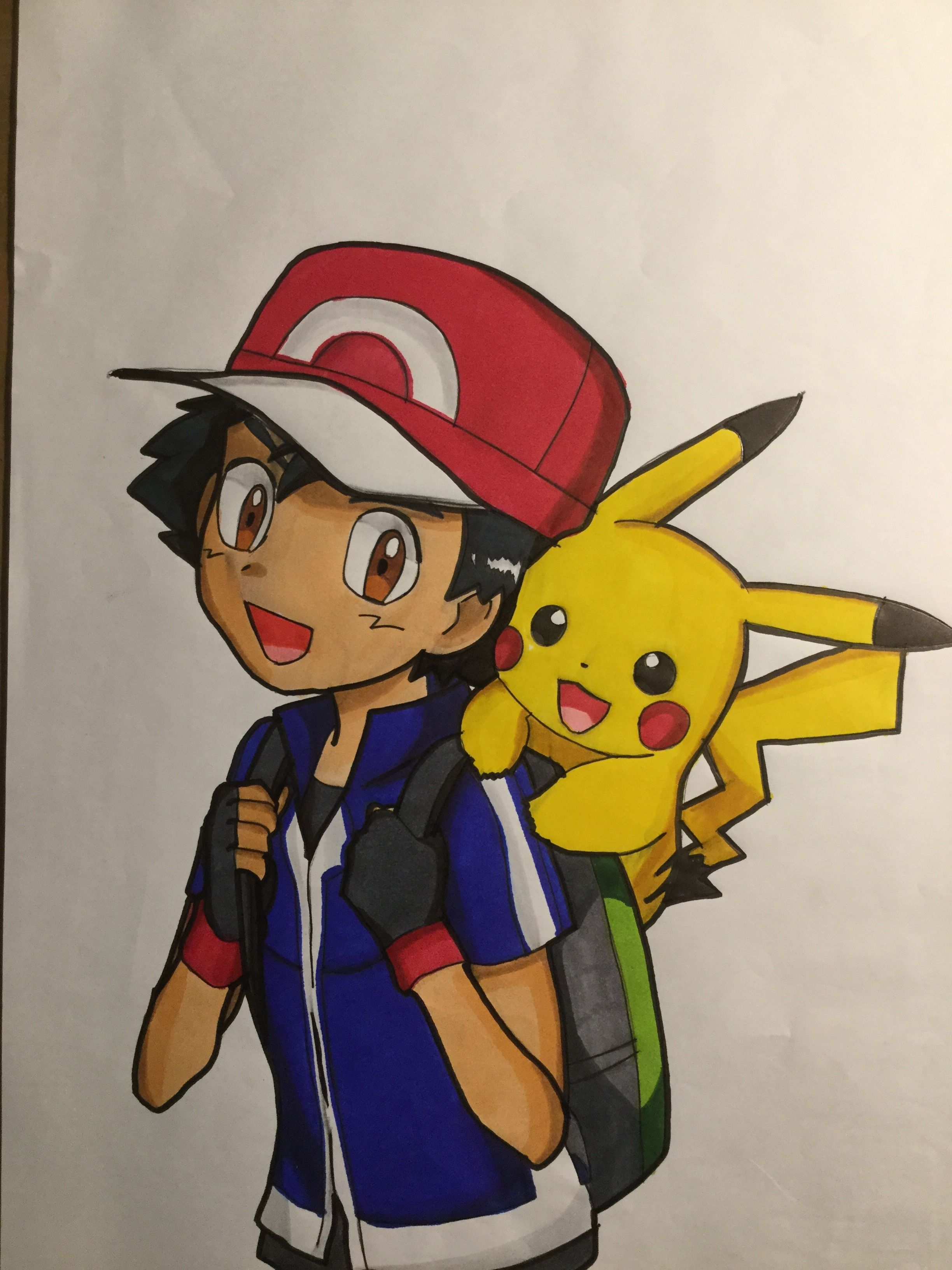 Drawing from pokemon with Ash and pickachu in 2020