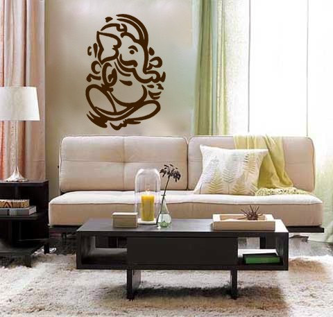 lord ganesh vinyl wall decal- hindi hindu india interior design