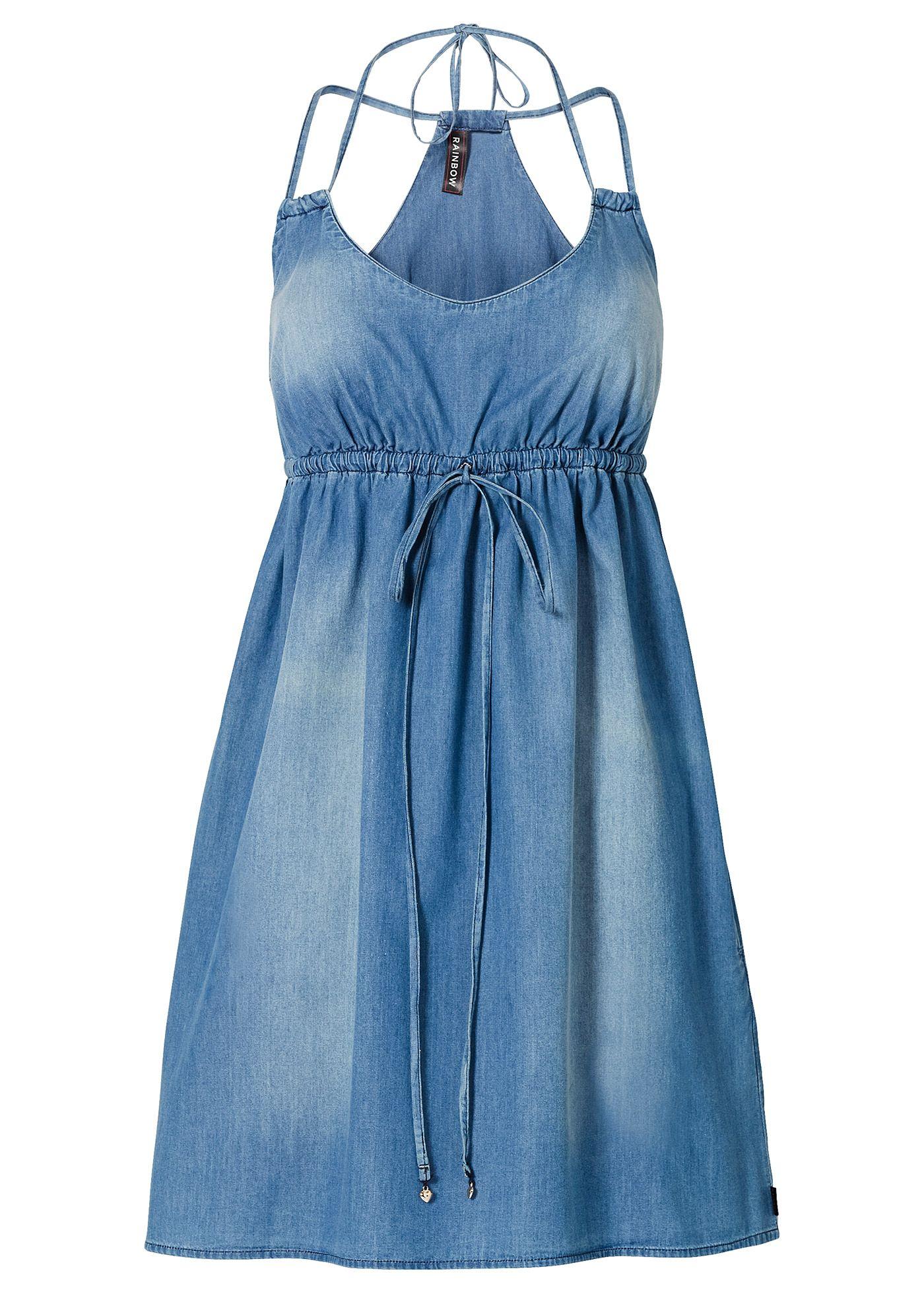 b9b0b38397c6 Vestido jeans azul estonado encomendar agora na loja on-line bonprix.de R$  129,00 a partir de Vestido jeans deslumbrante, com decote V profundo e  alças .