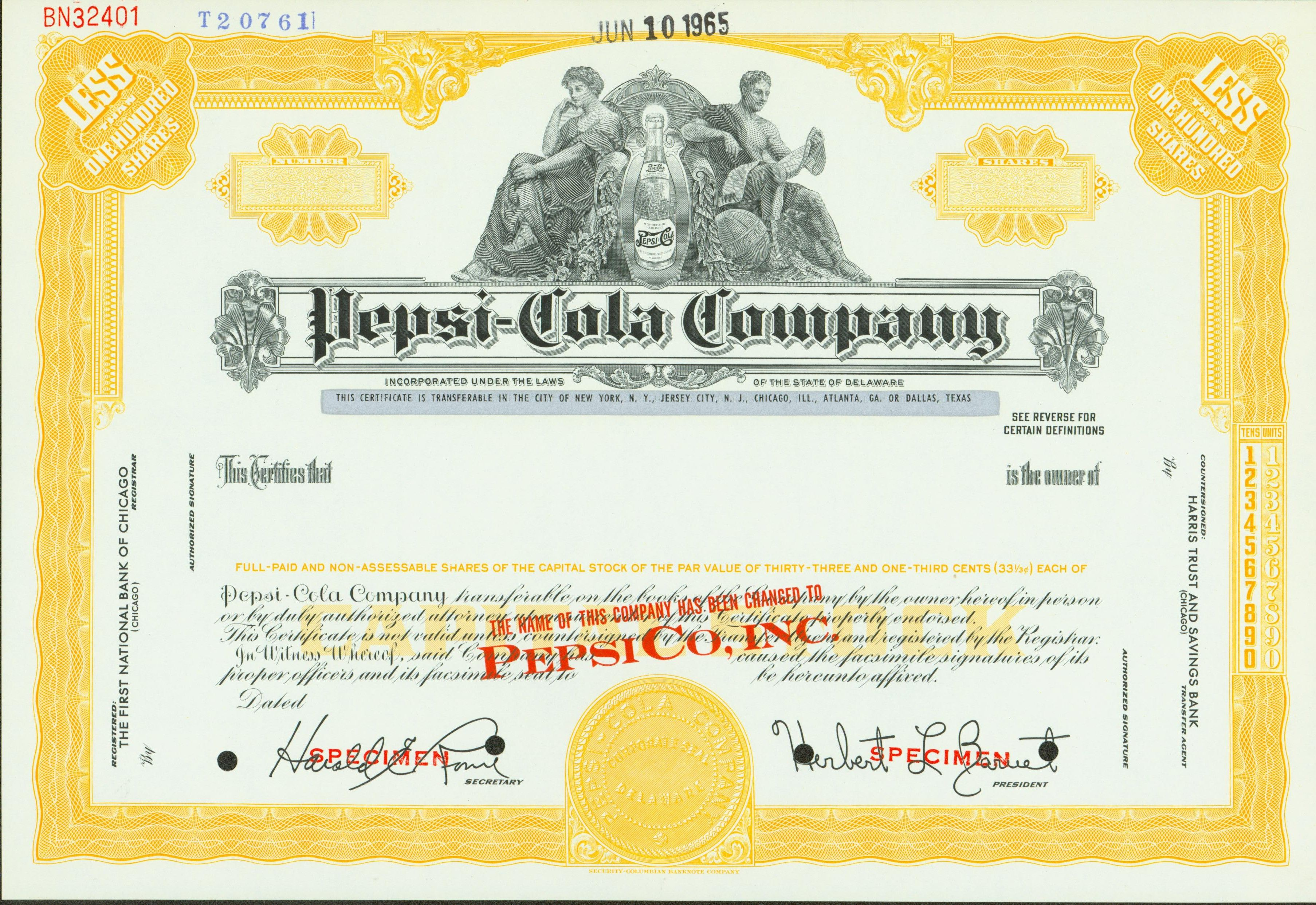Pepsi Cola Company Stock Certificate, 1965  Company Share Certificates