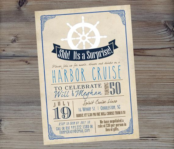 Nautical Birthday Invitation Surprise Party By