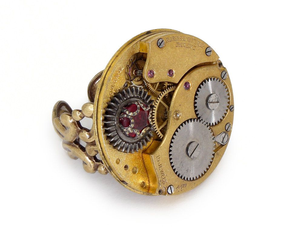 Steampunk Ring gold antique watch movement gears circa 1900 15 ruby jewel genuine faceted red garnet vintage filigree adjustable