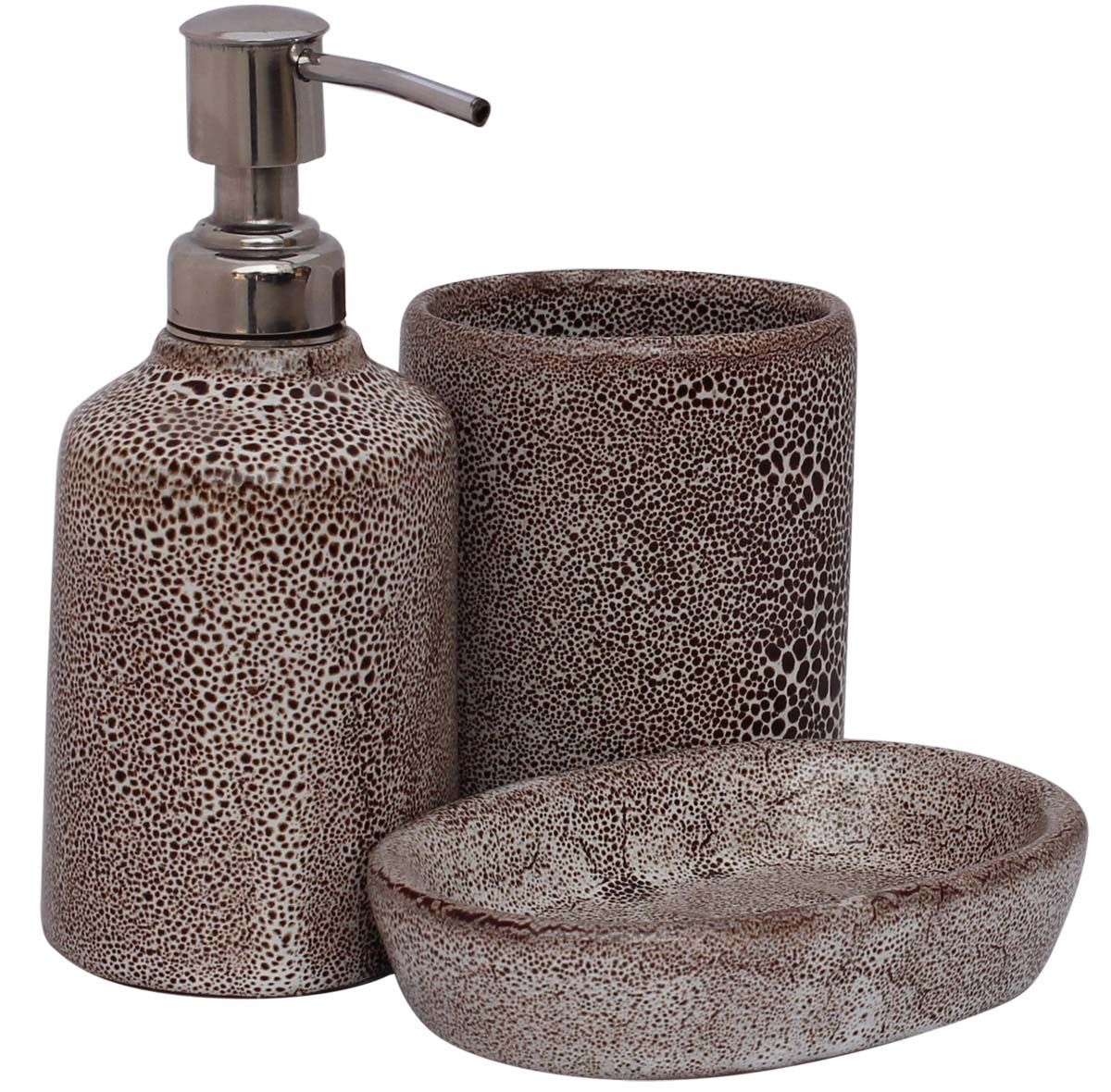 bulk wholesale handmade ceramic bath accessories set 3 items hand painted mottled