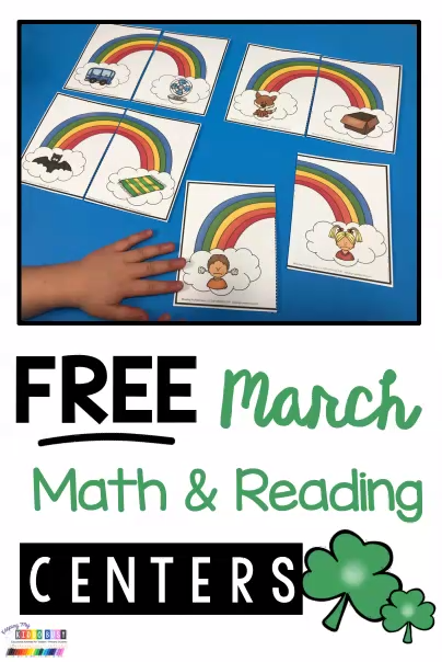 St. Patrick's Day centers for kindergarten and pre-k - print FREE reading activities and math activities - March math centers - March reading centers - St Patricks Day activities - little leprechaun printables - sight words - CVC words - word families - addition - teen numbers - phonics #kindergarten #kindergartenmath #kindergartenphonics