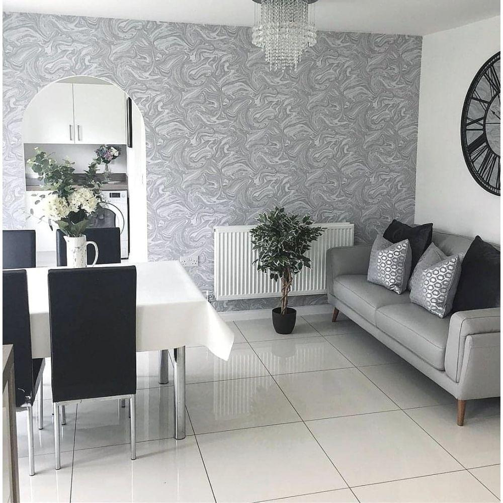 Prosecco Sparkle Marble Wallpaper White Silver Of