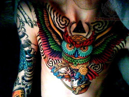 Owl Tattoos Page 101 Owl Tattoo Chest Chest Piece Tattoos Colorful Owl Tattoo