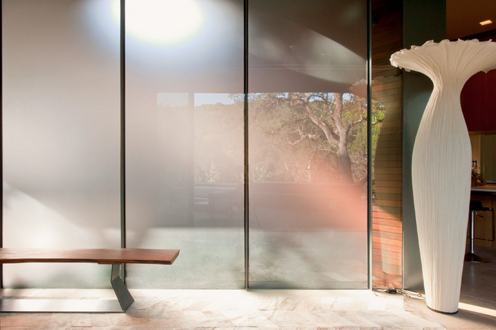 Frosted Glass Panels Pros The Semi Transparent Material Allows For Visual P
