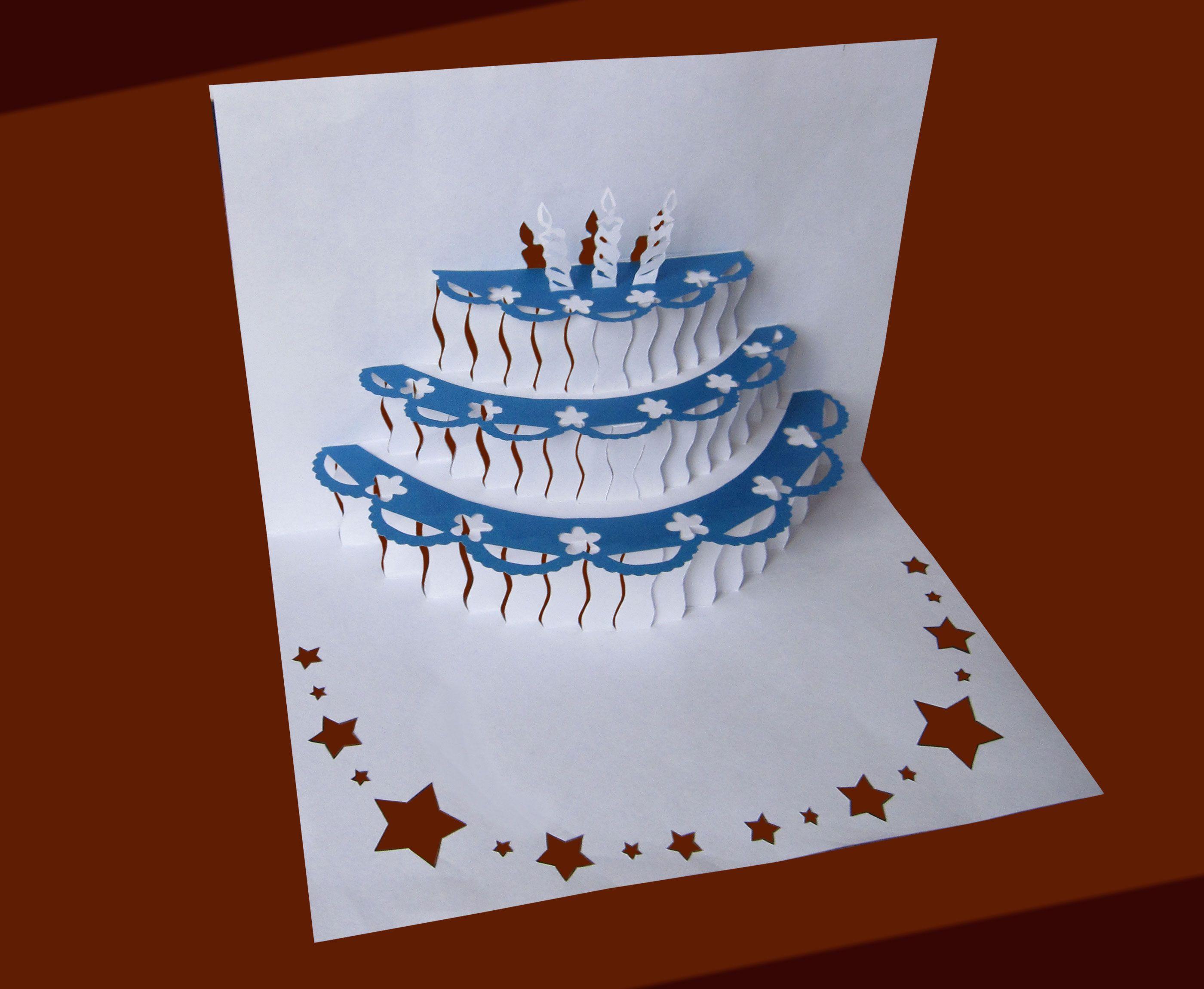 Открытка торт из бумаги объемный