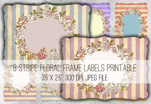 1025 - Stripe quadro floral Etiquetas Colagem Digital Folha