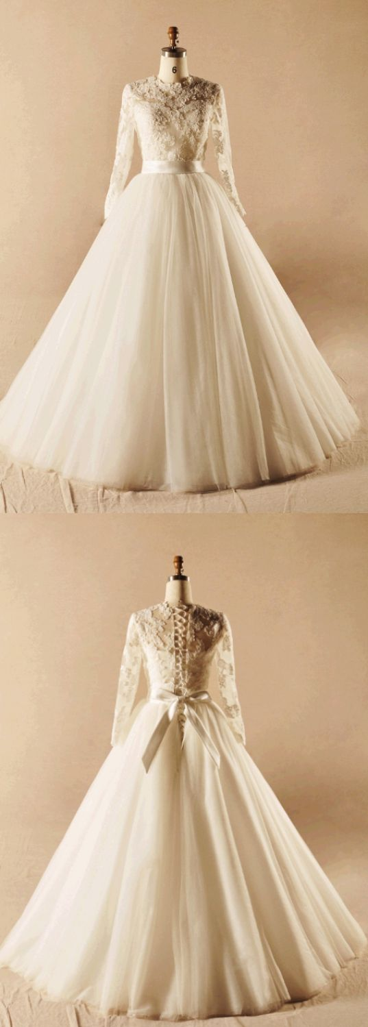 Long sleeve ball gown wedding dresses  Nice Long Ball Gown Wedding Dresses Ivory Long Sleeve With Belt