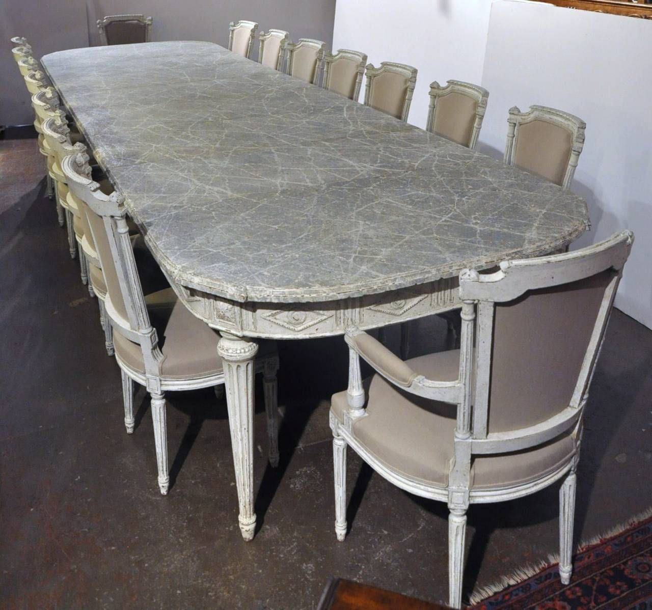 Large Antique 19Th Century French Louis Xvi Painted Dining Table Simple Antiques Dining Room Sets Decorating Design