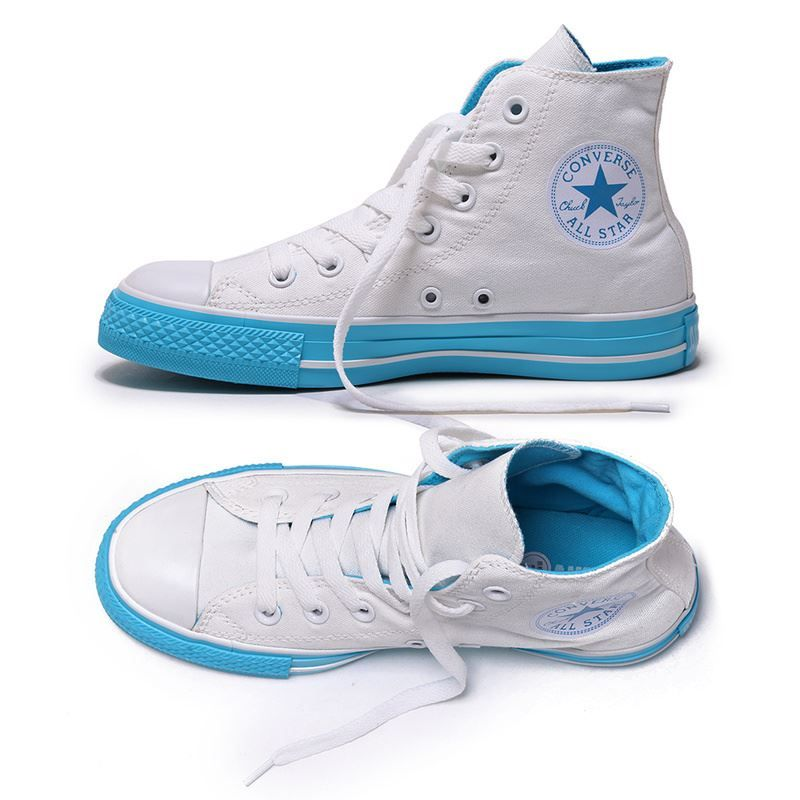 Converse All Star Sneakers Hi Colored Bottom White Blue