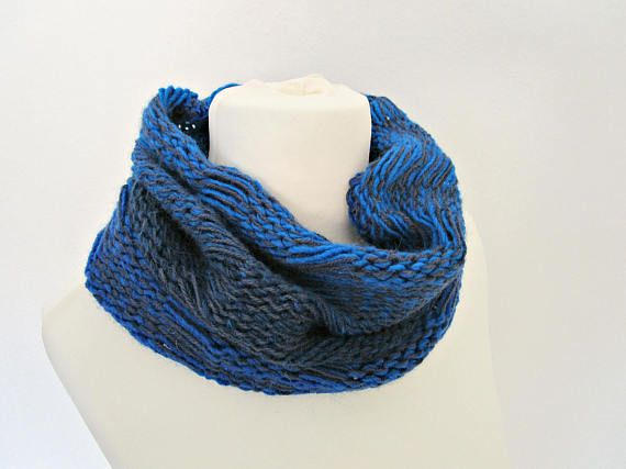 Knitting Loop Scarf : Blue knit loop scarf royal knitted cowl