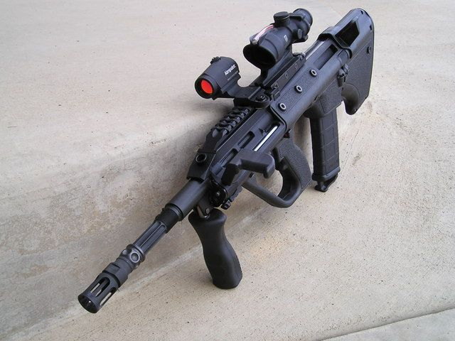 Steyr Aug with off set sights  have always really like the