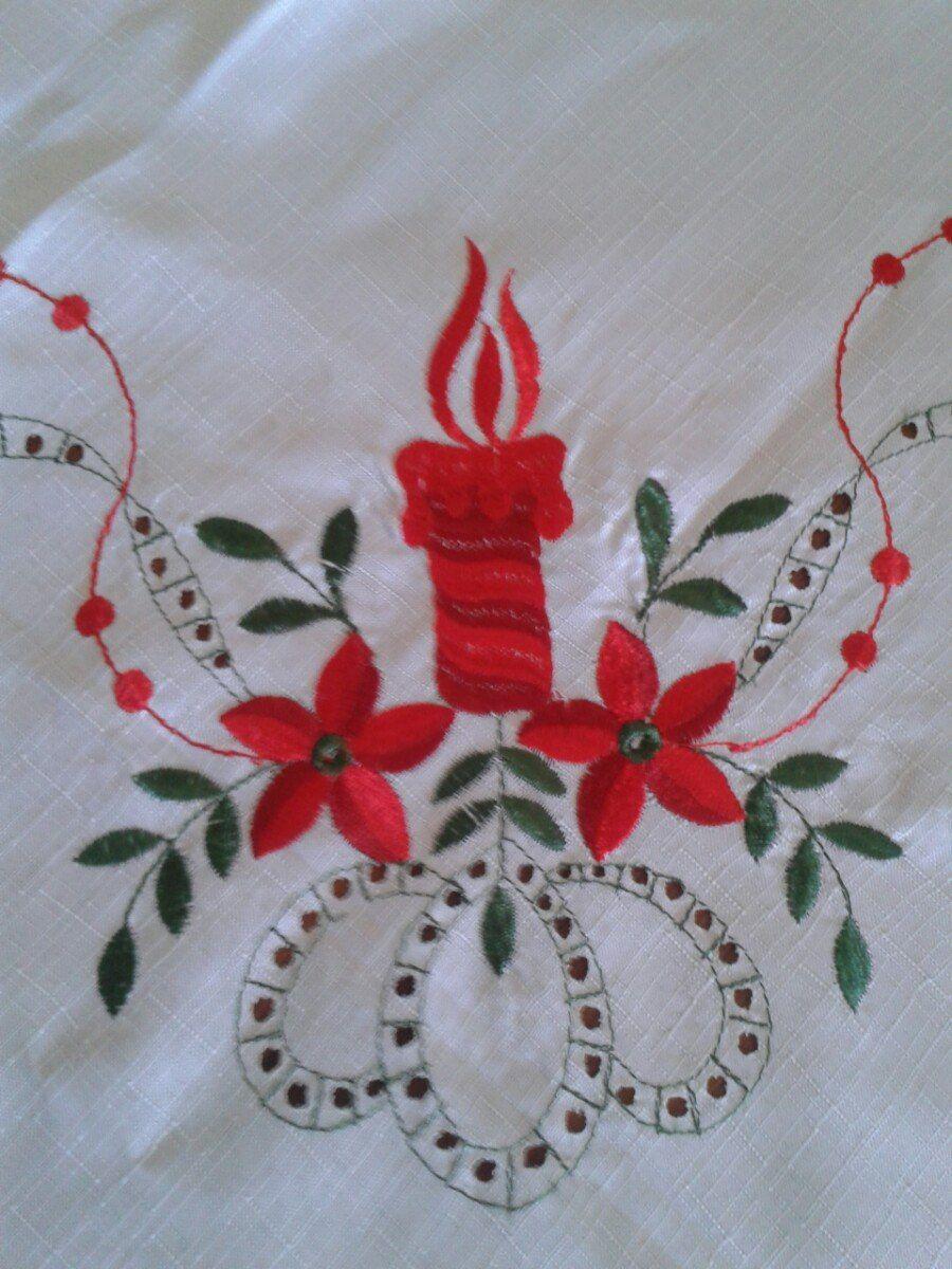 Resultado De Imagen Para Mantel Bordado De Navidad Proyectos Que - Manteles-para-bordar