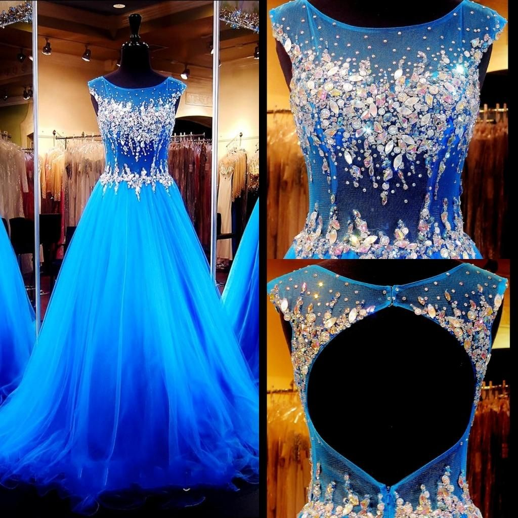 brilliant blue prom dresses with cap sleeves real images jewel