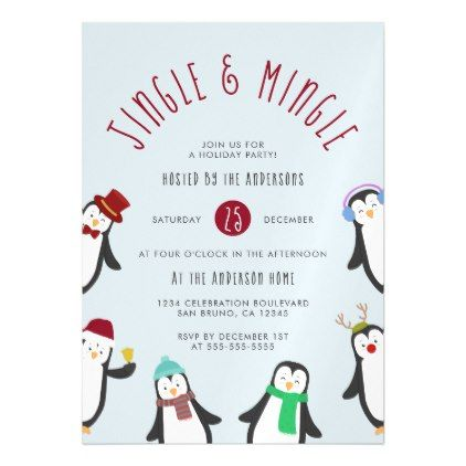 jingle mingle penguin holiday party invitations party invitations kidschristmas