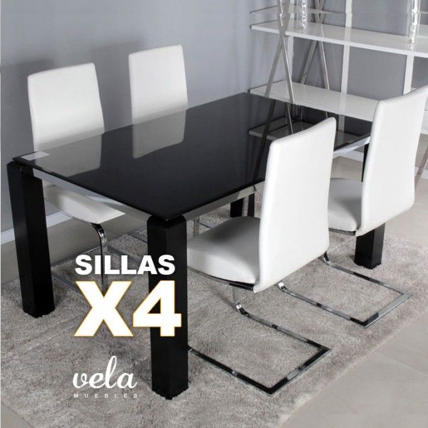 conjunto de mesa para comedor totalmente negra y sillas