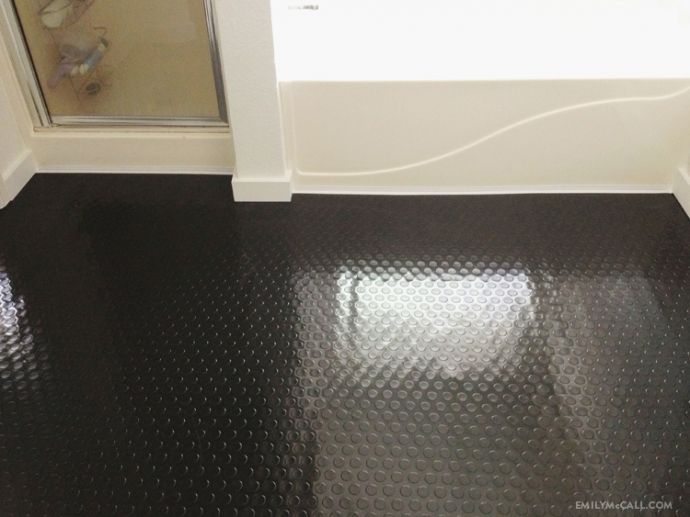 Black raised rubber flooring in the bathroom | EmilyMcCall ...